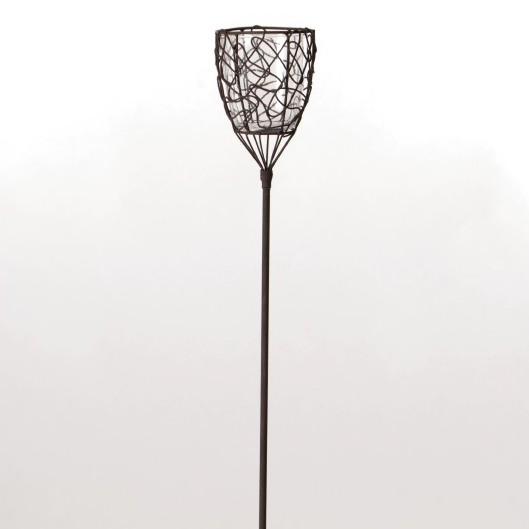 """Steckeisen """"Kunst"""" mit Teelichthalter aus Draht mit Glaseinsatz, antik-braun, H 94 cm"""
