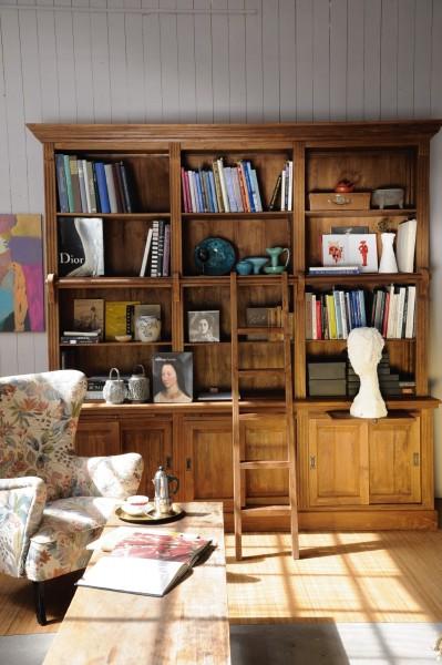 Bücherwand aus recyceltem Teak, natur, T 50 cm, B 255 cm, H 250 cm