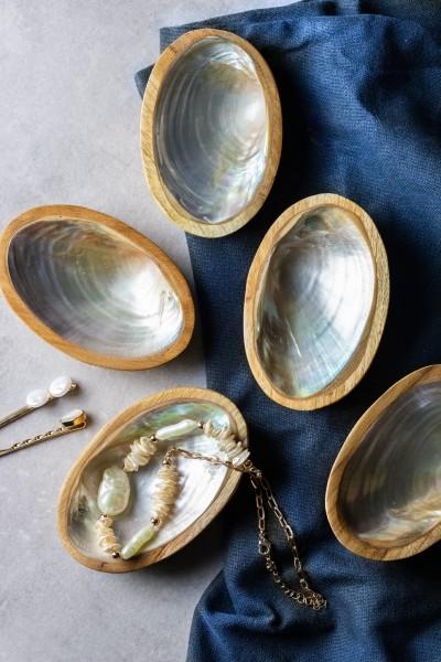 Holzschale 'Boot', braun/silber, L 7 cm, B 11 cm, H 3 cm