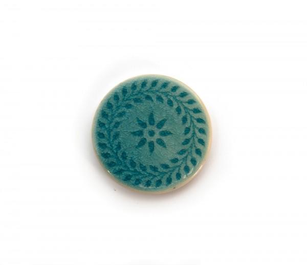 Steingutuntersetzer Blütenkette, azurblau, Ø 11 cm, H 0,8 cm