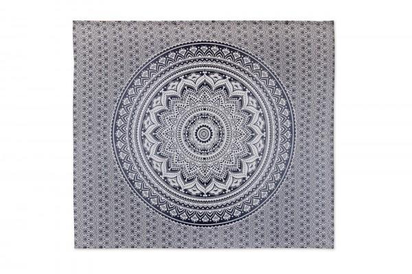Multifunktionstuch 'Mandala Blume', schwarz, weiß, T 216 cm, B 240 cm