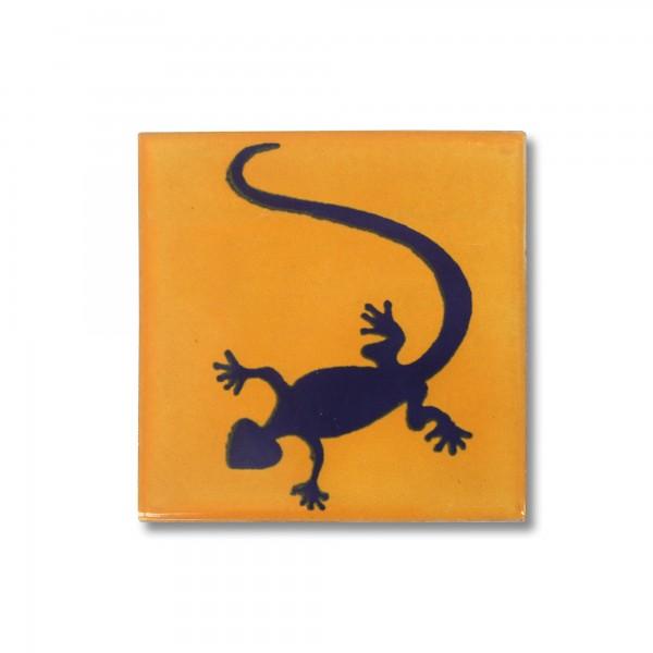 Kachel 'Gecko', gelb, schwarz, T 10 cm, B 10 cm, H 0,5 cm
