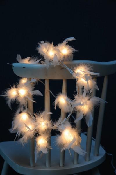 """Lichterkette """"Federn"""", mit 20 LED-Leuchten, weiß, L 315 cm"""