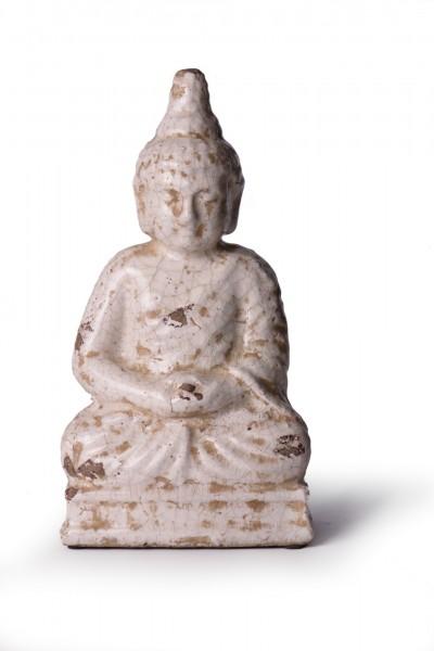 Buddha aus Keramik, antik-weiß, L 11 cm, B 17 cm, H 31 cm