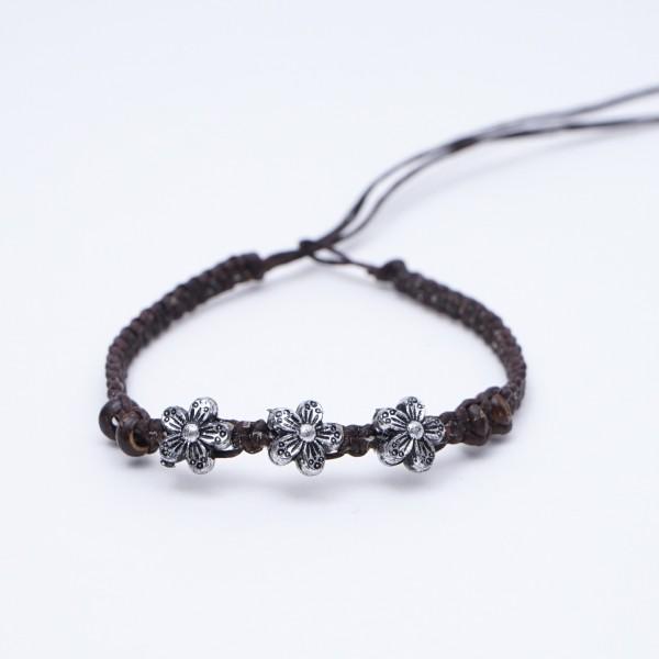 Armband 'Marcy', handgefertigt, braun/silber