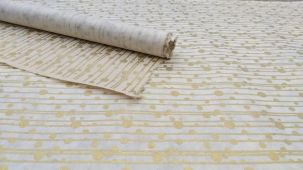 Geschenkpapier Linien mit Punkten, weiß, gold, L 76 cm, B 51 cm