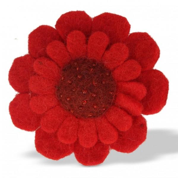 """Brosche """"Blume"""", rot, Ø 9 cm"""