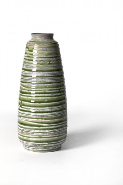 Vase geringelt, aus Steingut, grün/grau, Ø 11 cm, H 25 cm