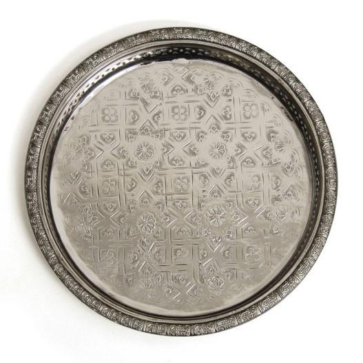Marokkanisches Teetablett, silber, Ø 27 cm