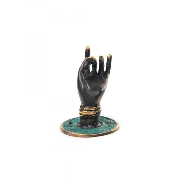 """Wandhaken """"Hand Mudra links"""", aus Bronze, Ø 4 cm, H 4 cm"""