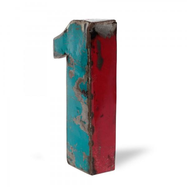 Metallziffer '1', multicolor, T 14 cm, B 21 cm, H 4 cm