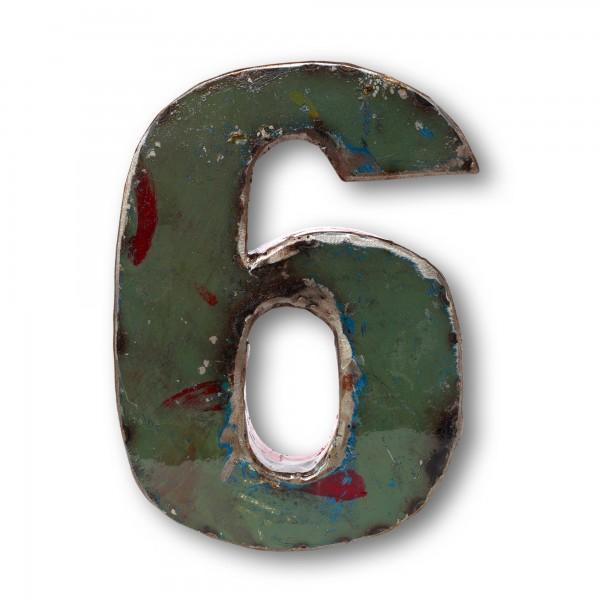 Metallziffer '6', multicolor, T 13 cm, B 20 cm, H 4 cm
