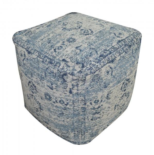 Pouf 'Yuva', cremeweiß, blautöne, T 45 cm, B 45 cm, H 45 cm