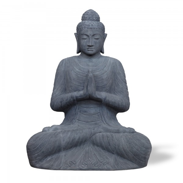 Zementstatue 'Buddha' sitzend, grau, T 110 cm, B 148 cm, H 200 cm