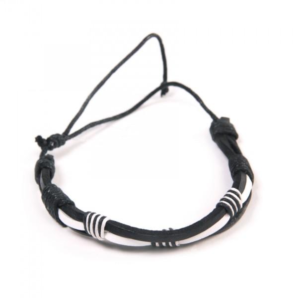 """Armband """"Lukas"""", aus Leder, schwarz/weiß"""
