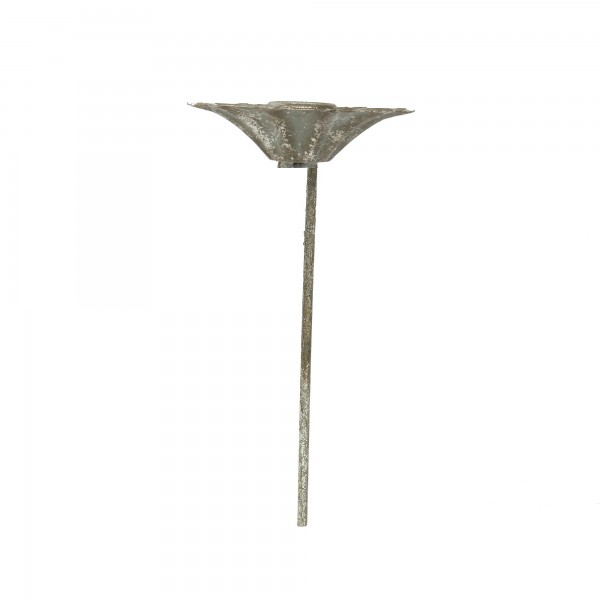 Kerzenstecker 'Anastasia', silbergrau, Ø 10 cm, H 18 cm