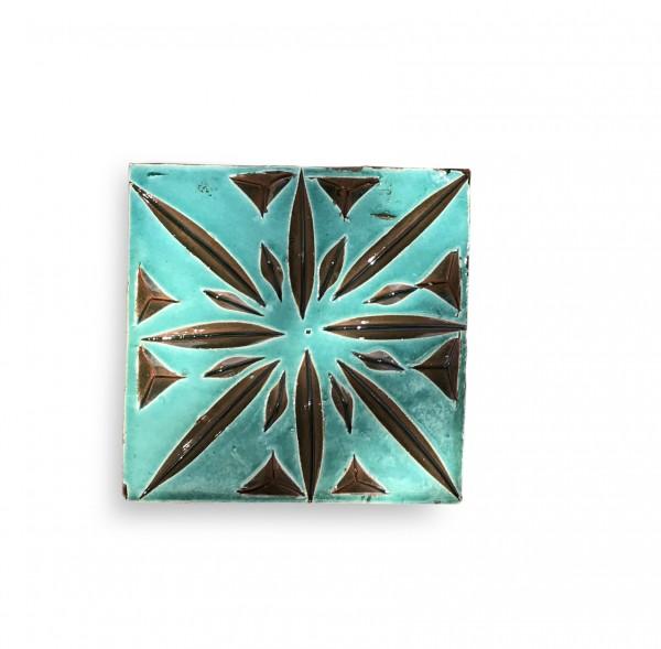Kachel 'parure turquoise', grün, T 10 cm, B 10 cm, H 1 cm
