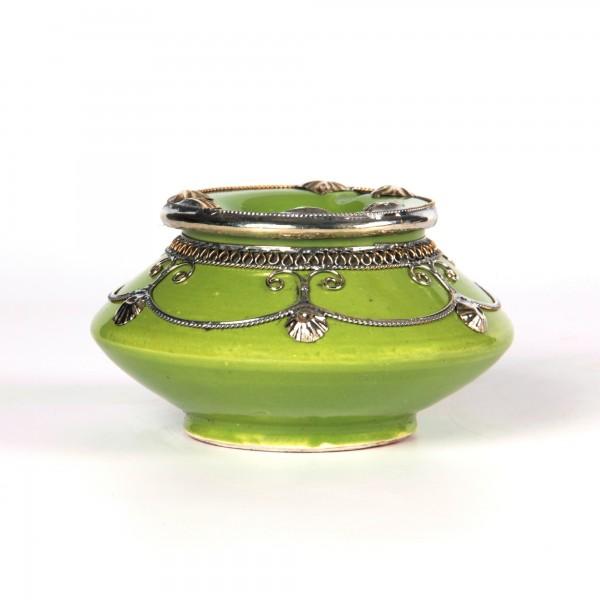 Aschenbecher mit Metallverzierung, pistaziengrün, Ø 14 cm, H 6 cm
