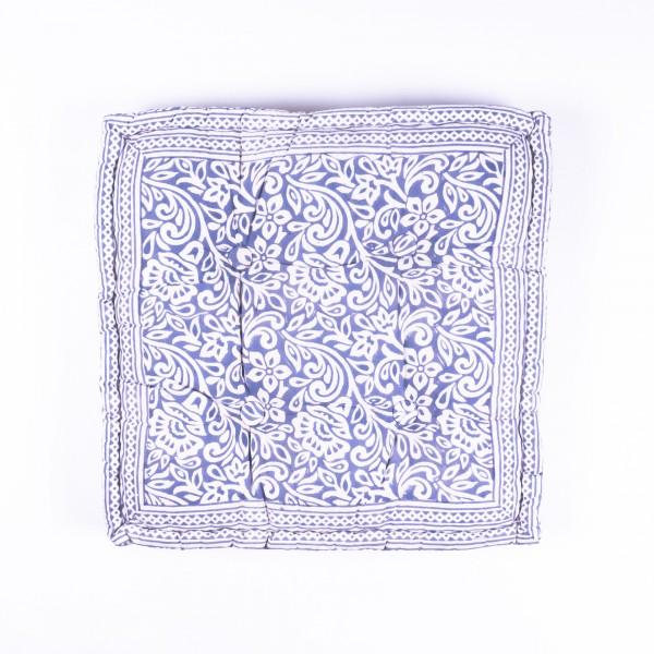 """Sitzkissen """"Flower"""", manuelles Blockprintverfahren, L 48 cm, B 48 cm, H 10 cm"""