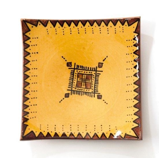 Ablage, gelb, L 18 cm, B 18 cm, H 3 cm