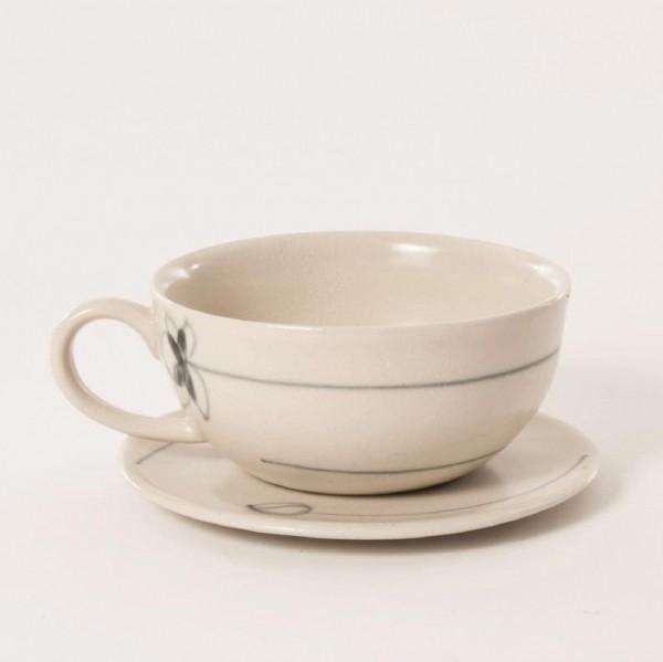 """Teetasse mit Unterteller """"Lotus"""", beige, H 5 cm, Ø 10 cm"""