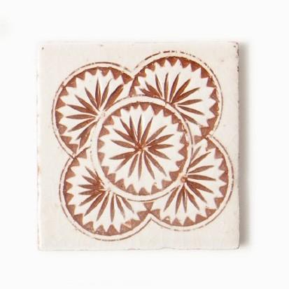 handglasierte Kachel 'majolique', beige/terracotta, L 10 cm, B 10 cm, H 1 cm