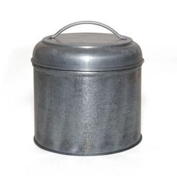 Aufbewahrungsdose aus Metall M, silber, Ø 13 cm, H 14 cm
