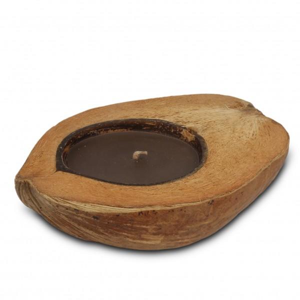 Kokosnussschale mit brauner Kerze, braun, H 5 cm, Ø ca. 20 cm