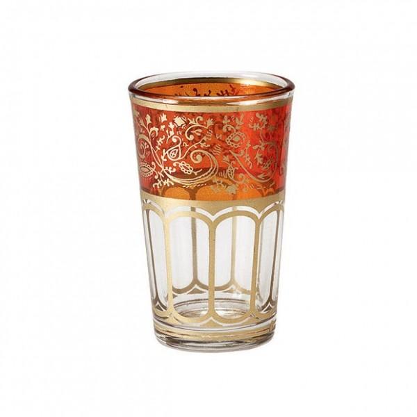 Teeglas mit Brandglasur, orange/gold, H 8,5 cm, Ø 5 cm