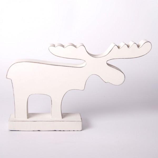 """Elch """"Rudolf"""" aus Holz, weiß, B 34 cm, H 20 cm"""