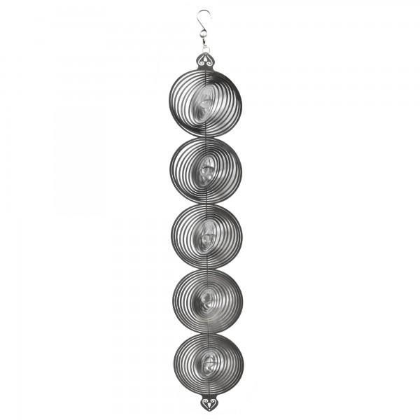 Windspiel '5 Kreise', silber, T 3 cm, B 10 cm, H 52 cm