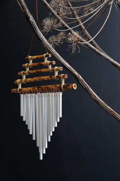 Windspiel 'Pagode', natur, silber, T 1 cm, B 30 cm, H 34 cm