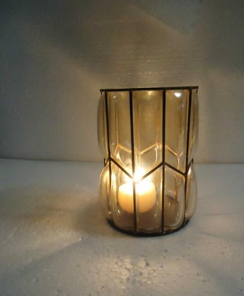 Windlicht, goldglanz, T 14 cm, B 14 cm, H 18,5 cm