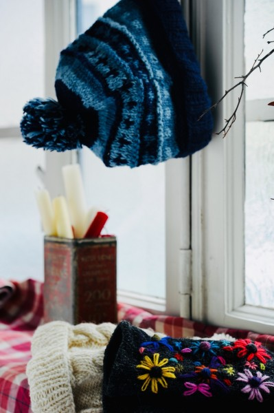 Mütze mit Pompon, blau