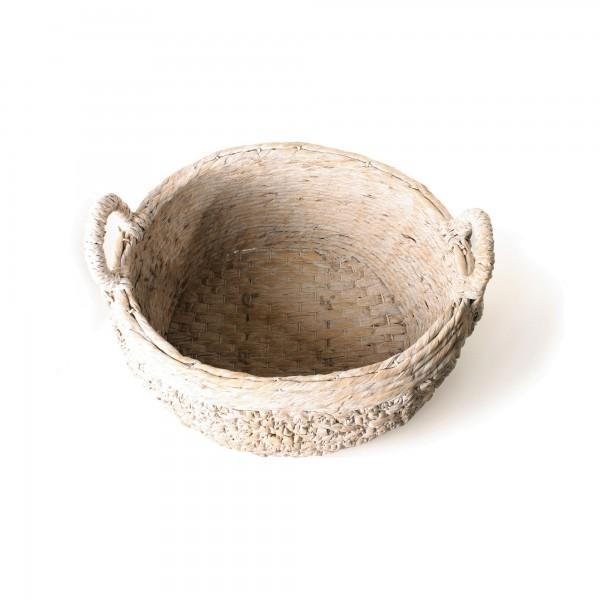 "Korb ""Meville"", aus Wasserhyazinthe, weiß, L 50 cm, B 60 cm, H 37 cm"