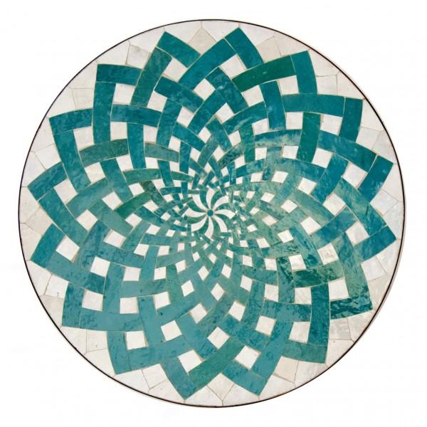 Mosaiktisch, grün/weiß, H 75 cm, Ø 70 cm