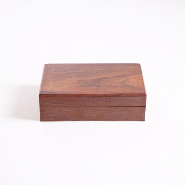 Holztruhe mit Messingintarsien, braun, L 12 cm, B 20 cm, H 6 cm