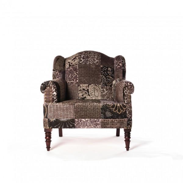 Sessel 'Truffaut', patch, grau, L 70 cm, B 85 cm, H 90 cm