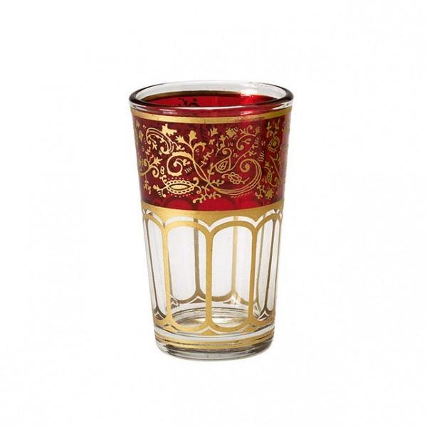 Teeglas mit Brandglasur, rot/gold, H 8,5 cm, Ø 5 cm