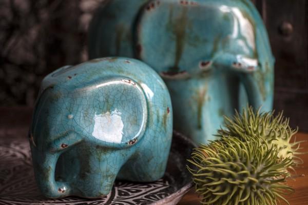 Elefant 'Chinois', blau, L 17 cm, B 11,5 cm, H 13 cm