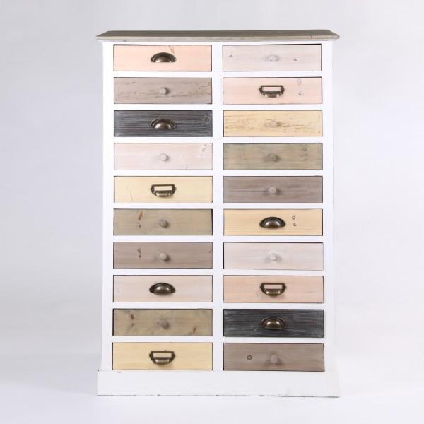 Kommode 'Karl', 20 Schubladen, multicolor, T 37 cm, B 76 cm, H 119 cm