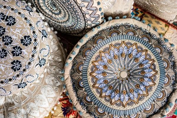 Pouf 'New Mandala', Ø 50 cm, H 30 cm