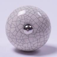 Keramik Möbelknopf, handglasiert, weiß, Ø 3,5 cm