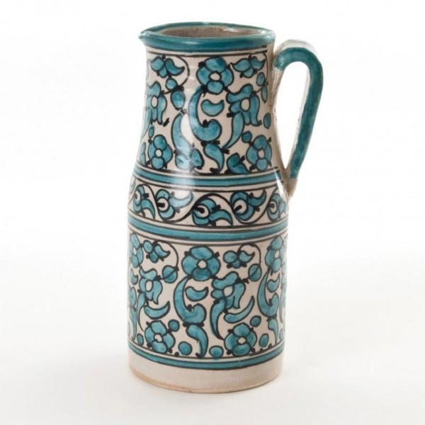 Karaffe, türkisgrün/beige, H, 22 cm, Ø 10,5 cm