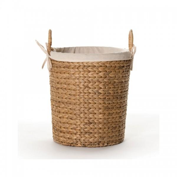 Wäschekorb mit Innenfutter, natur, H 34 cm, Ø 28 cm