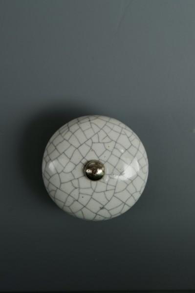 Keramik Möbelknopf, handglasiert, weiß, Ø 4 cm