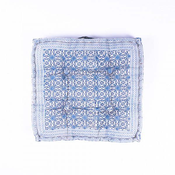 "Sitzkissen ""Minati"", manuelles Blockprintverfahren, L 48 cm, B 48 cm, H 10 cm"