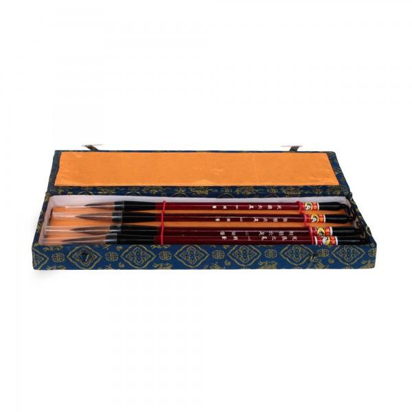 4er Pinselset in Box, gelb, blau, schwarz, T 31 cm, B 18,5 cm, H 3 cm