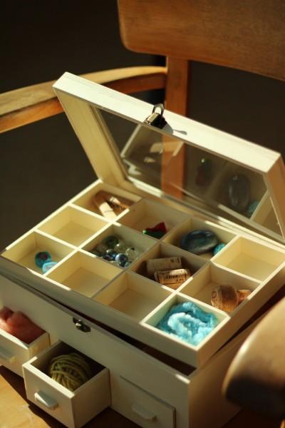 Sortierkasten 'Lili' mit 3 Schubladen und 24 Sortierfächern, natur, L 20 cm, B 30 cm, H 13 cm