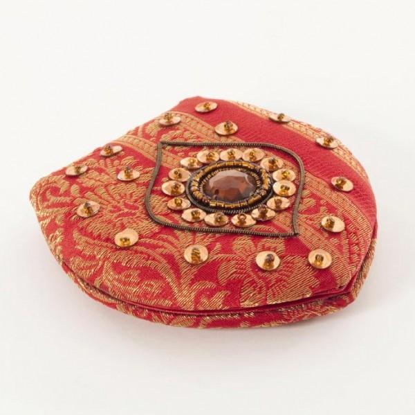 Handspiegel mit Glasperlen verziert, rot, L 9,5 cm, B 9 cm